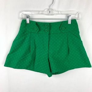 ASOS High Rise Green Flare Short Shorts